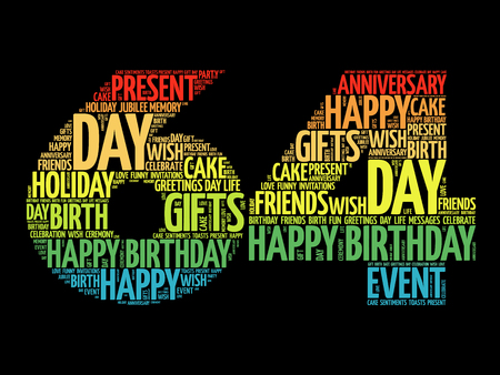 Happy 64th birthday word cloud collage concept