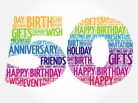 felicitaciones cumpleaÑos: Feliz 50º cumpleaños de la palabra nube concepto de collage
