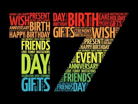 Concept de collage de mot 17ème anniversaire heureux
