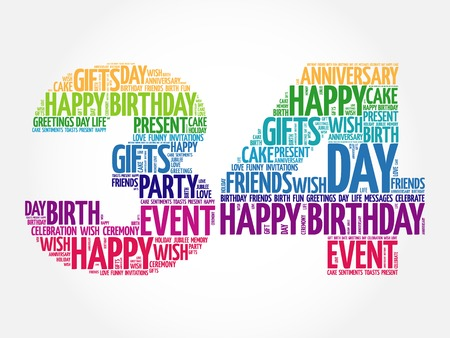34: Happy 34th birthday word cloud collage concept