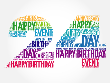 four friends: Happy 24th birthday word cloud collage concept
