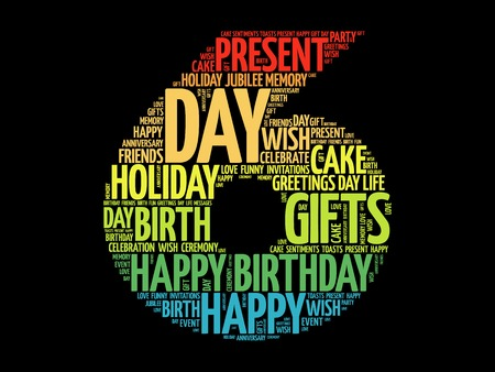 6th: Happy 6th birthday word cloud collage concept