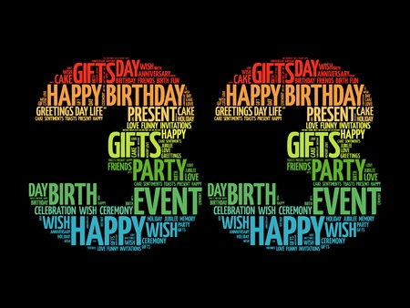 rd: Happy 33rd birthday word cloud collage concept