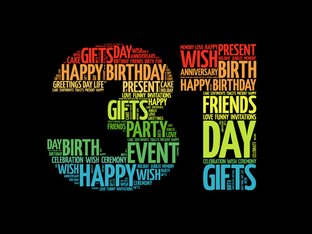 31st: Happy 31st birthday word cloud collage concept Illustration