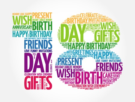 happy birthday 18: Happy 18th birthday word cloud collage concept Illustration