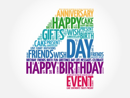 merriment: Happy 4th birthday word cloud collage concept