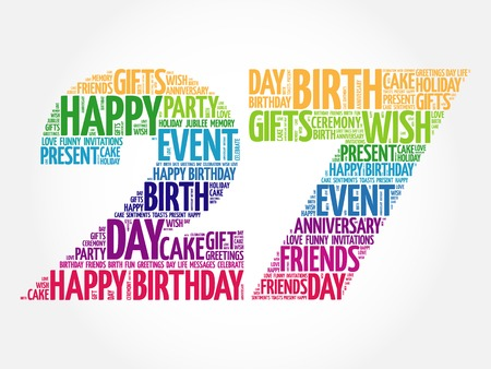merriment: Happy 27th birthday word cloud collage concept Illustration
