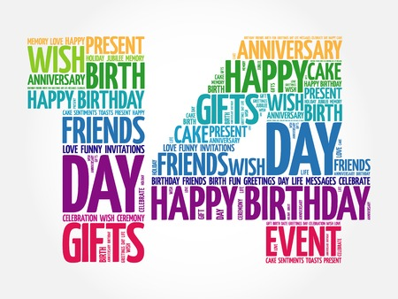 14th: Happy 14th birthday word cloud collage concept