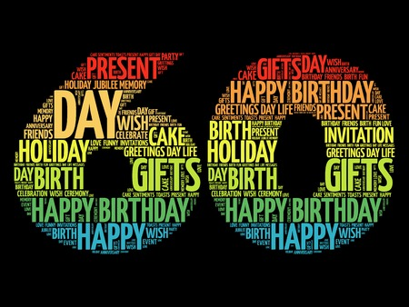 Happy 60th birthday word cloud collage concept