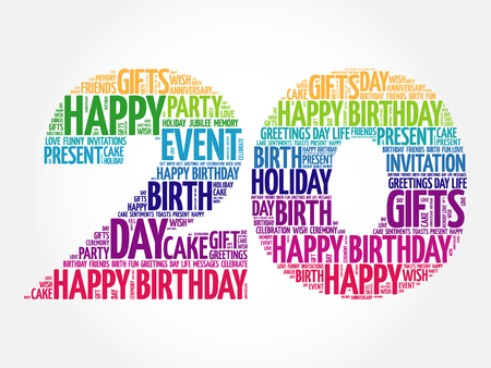 20th: Happy 20th birthday word cloud collage concept