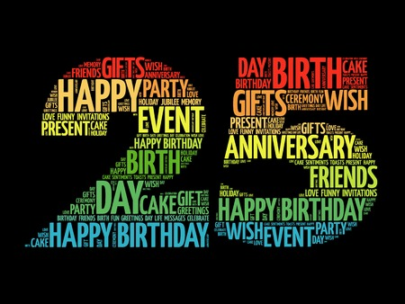 25th: Happy 25th birthday word cloud collage concept