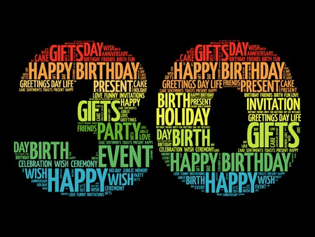Happy 30th birthday word cloud collage concept