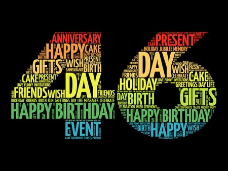 Happy 46th birthday word cloud collage concept