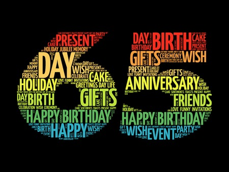 65th: Happy 65th birthday word cloud collage concept