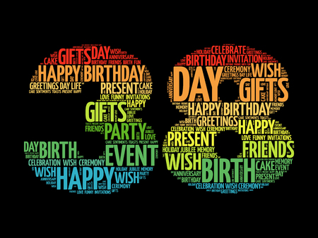 38: Happy 38th birthday word cloud collage concept Illustration