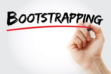 bootstrap: Hand writing Bootstrapping with marker, business concept Stock Photo