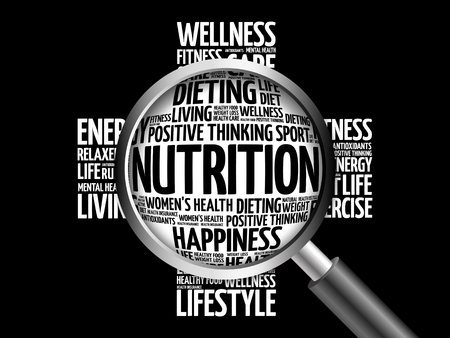 Nutrition word cloud with magnifying glass, health concept 3D illustration