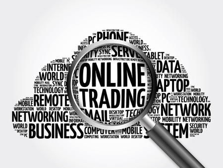 online trading: Online Trading word cloud with magnifying glass, business concept 3D illustration Stock Photo