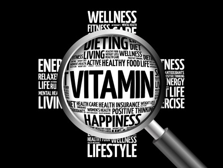 VITAMIN word cloud with magnifying glass, health concept 3D illustration