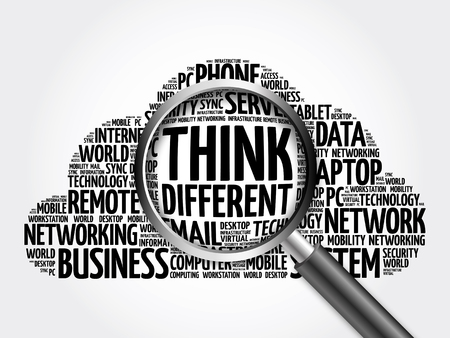 Think Different word cloud with magnifying glass, business concept 3D illustration