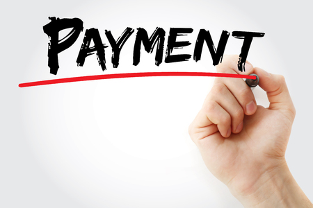 downpayment: Hand writing PAYMENT with marker, business concept