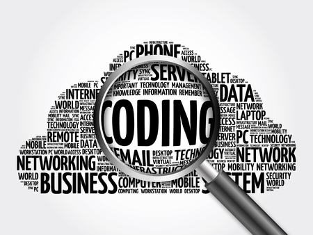 Coding word cloud with magnifying glass, business concept 3D illustration