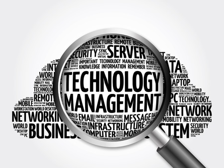 Technology Management word cloud with magnifying glass, business concept 3D illustration
