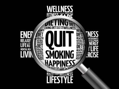 Quit Smoking word cloud with magnifying glass, health concept 3D illustration