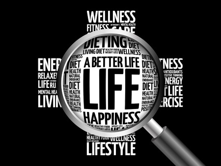 joyous life: A Better Life word cloud with magnifying glass, health concept 3D illustration