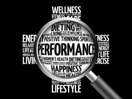 PERFORMANCE word cloud with magnifying glass, health concept 3D illustration