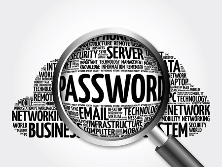 guess: Password word cloud with magnifying glass, business concept 3D illustration Stock Photo