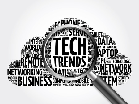 Tech Trends word cloud with magnifying glass, business concept 3D illustration