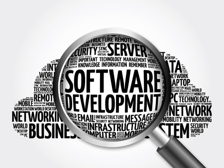 erp: Software development word cloud with magnifying glass, business concept 3D illustration Stock Photo