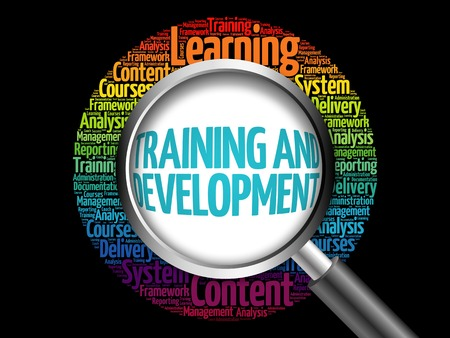 Training and Development word cloud with magnifying glass, business concept 3D illustration