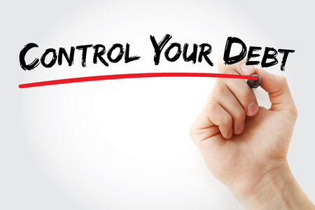 creditors: Hand writing Control Your Debt with marker, business concept Stock Photo