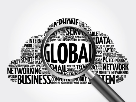metadata: Global word cloud with magnifying glass, business concept 3D illustration