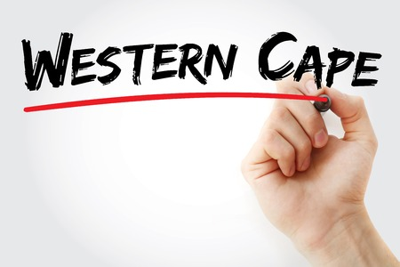writing western: Hand writing Western Cape with marker, business concept background Stock Photo