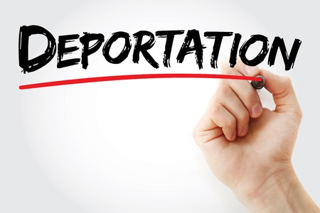 deportation: Hand writing Deportation with marker, concept background