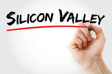 silicon: Escritura de la mano de Silicon Valley con el marcador, el concepto de fondo Foto de archivo