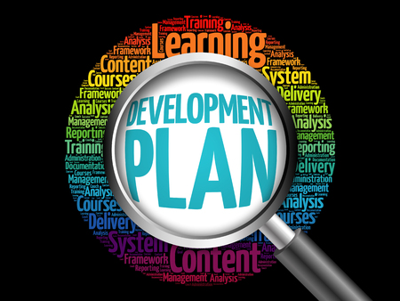 Development Plan word cloud with magnifying glass, business concept 3D illustration Stock Photo
