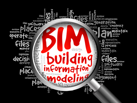 decisionmaking: BIM - building information modeling word cloud with magnifying glass, business concept 3D illustration