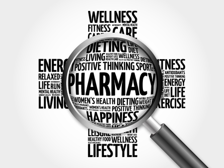 Pharmacy word cloud with magnifying glass, health cross concept 3D illustration