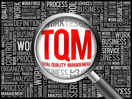 TQM - Total Quality Management word cloud with magnifying glass, business concept 3D illustration Stock Photo