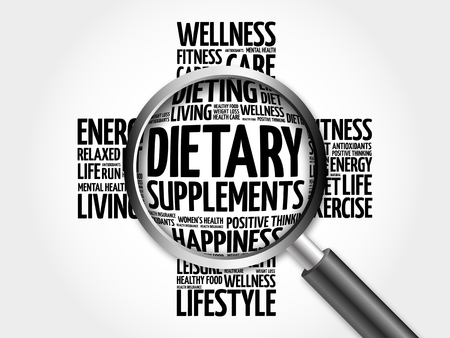 Dietary Supplements word cloud with magnifying glass, health cross concept 3D illustration Stock Photo