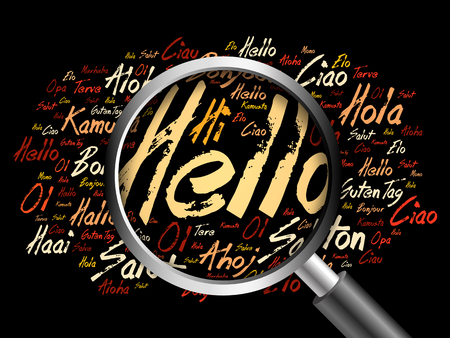 greet: Hello word cloud in different languages of the world with magnifying glass, background concept 3D illustration Stock Photo