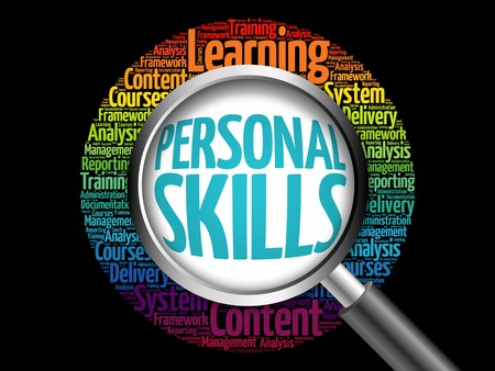 Personal Skills word cloud with magnifying glass, business concept 3D illustration