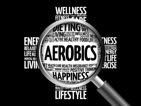 Aerobics word cloud with magnifying glass, health concept 3D illustration Stock Photo