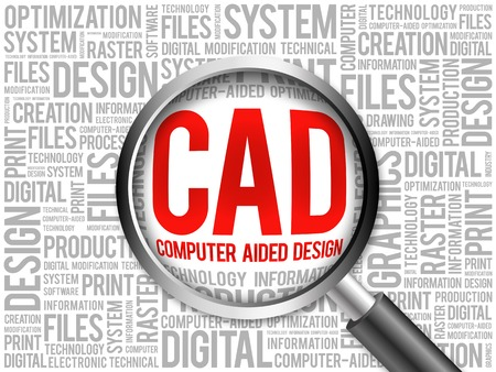 cad: CAD - Computer Aided Design word cloud with magnifying glass, business concept 3D illustration