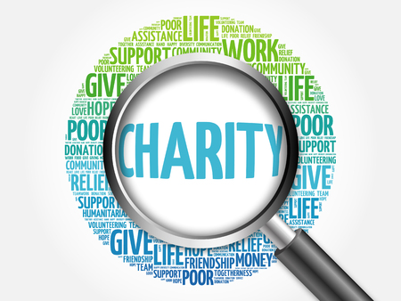 charity and relief work: Charity word cloud with magnifying glass, business concept 3D illustration