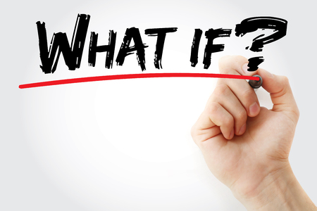 what if: Hand writing What if with marker, business concept background Stock Photo